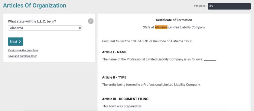 Filing for an LLC