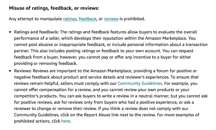 Amazon terms of service for reviews