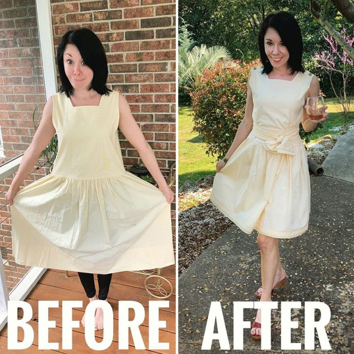 Woman Transforms Thrift-Store Clothes For $1 Into Elegant Outfits