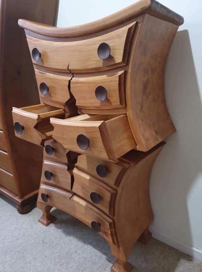 """Woodworker Crafts Amazing """"Broken"""" Furniture That Looks Like It Belongs in a Cartoon"""