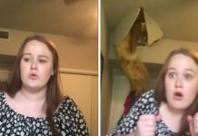 A woman hilariously crashes through the ceiling while her daughter films viral video
