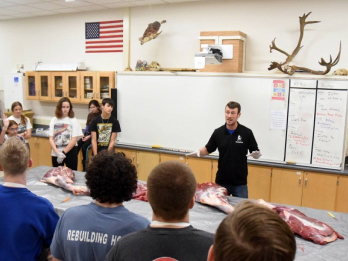A group of Chugiak High students butchered a moose in class