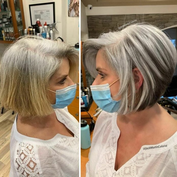 Instead Of Covering Grey Roots, This Hair Colorist Makes Clients Embrace It
