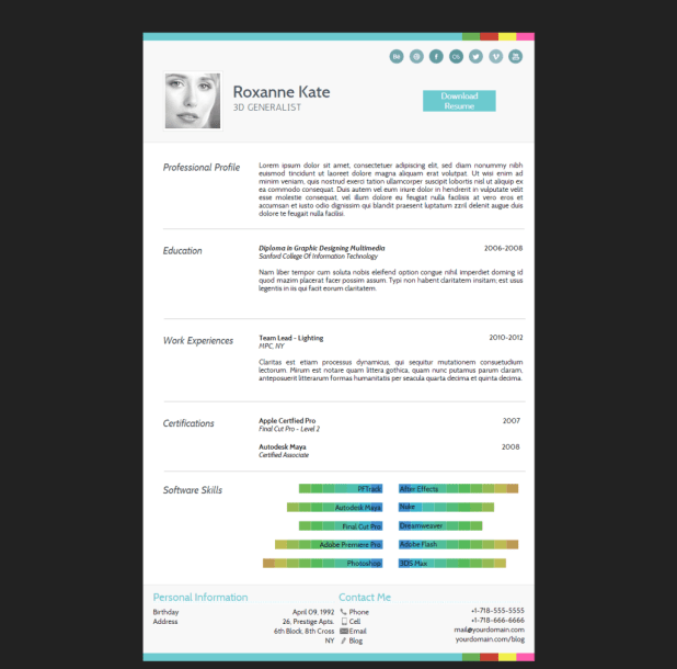 Hermes - Adobe Muse CV/Resume Template Free Download