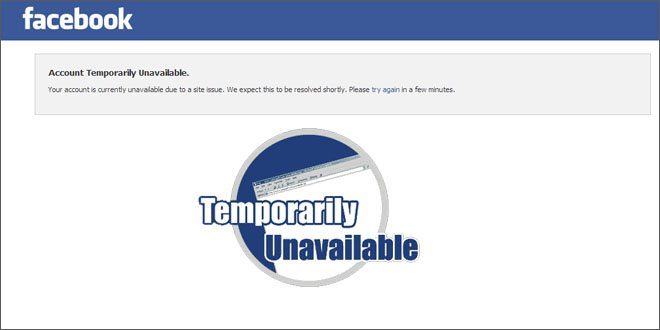 Facebook Account Temporarily Unavailable Issue