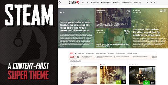 Steam - Responsive Retina Review Magazine Theme Review