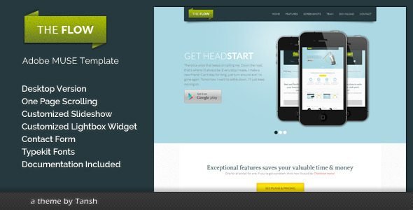 The Flow One Page Muse Template free download