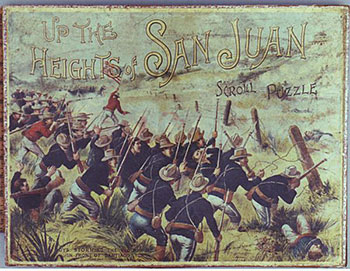 Fig 10. McLoughlin Brothers. Up the Heights of the San Juan: Our Boys Storming the Blockhouse in Front of Santiago, ca. 1898. The image on this puzzle depicts the Battle for San Juan Heights in July 1898, during the Spanish-American War. Bob Armstrong's Old Jigsaw Puzzles. Web. 2 March 2016.