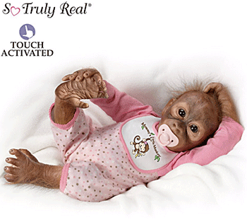 Fig 21. Baby Monkey Doll Squeezes Your Finger. The bottom of the web page for this doll notes that the doll is not a toy, but a fine collectible.  The Ashton-Drake Galleries. 2014. Web. 1 May 2016.
