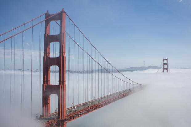 Golden Gate Bridge in San Francisco, in mist