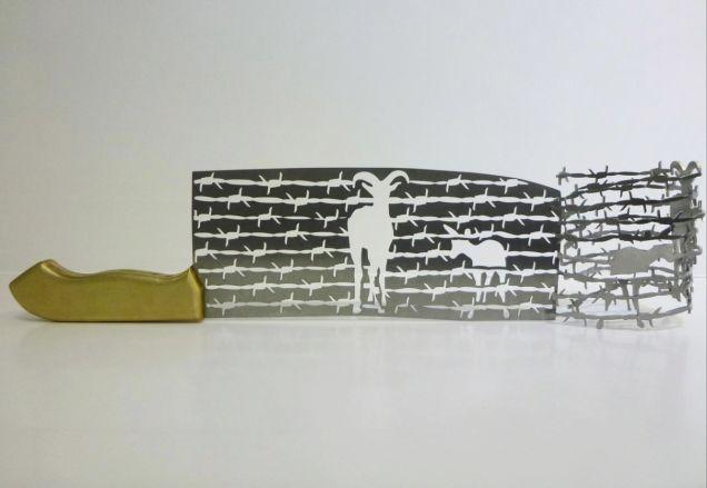 Silhouetten gemaakt van slagersmessen