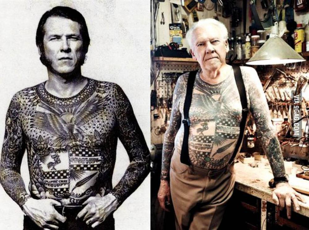 Toen en nu, oude mensen met tattoos