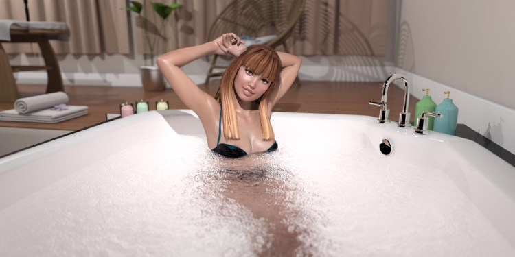 Sexy girl in the hot tub