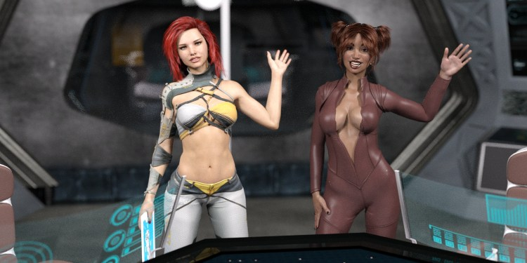 two sexy girls greet you