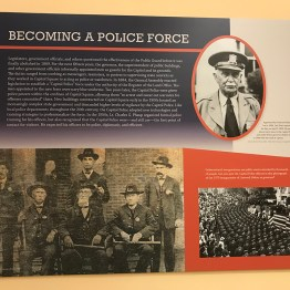 Panel displaying the story of the origins of the Virginia Capitol Police