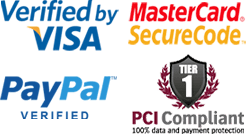 Verified by Visa, Mastercard, Paypal. PCI Compliant Website.