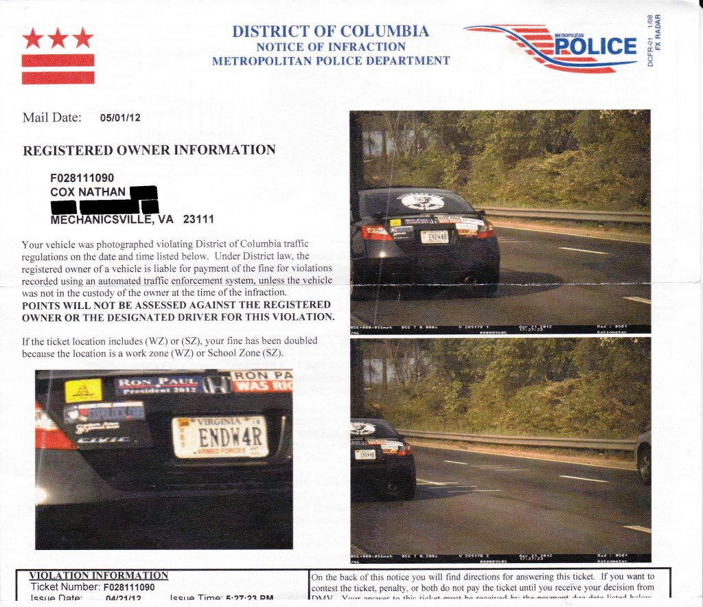 IMG 0002 1024x884 How to Beat a Photo Enforced Speeding Ticket (or Red Light Ticket)