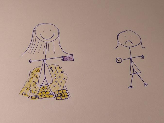 Dibujo de mujeres palo: una mujer sonriente rodeada de oro con un billete en la mano y otra triste con solo una moneda