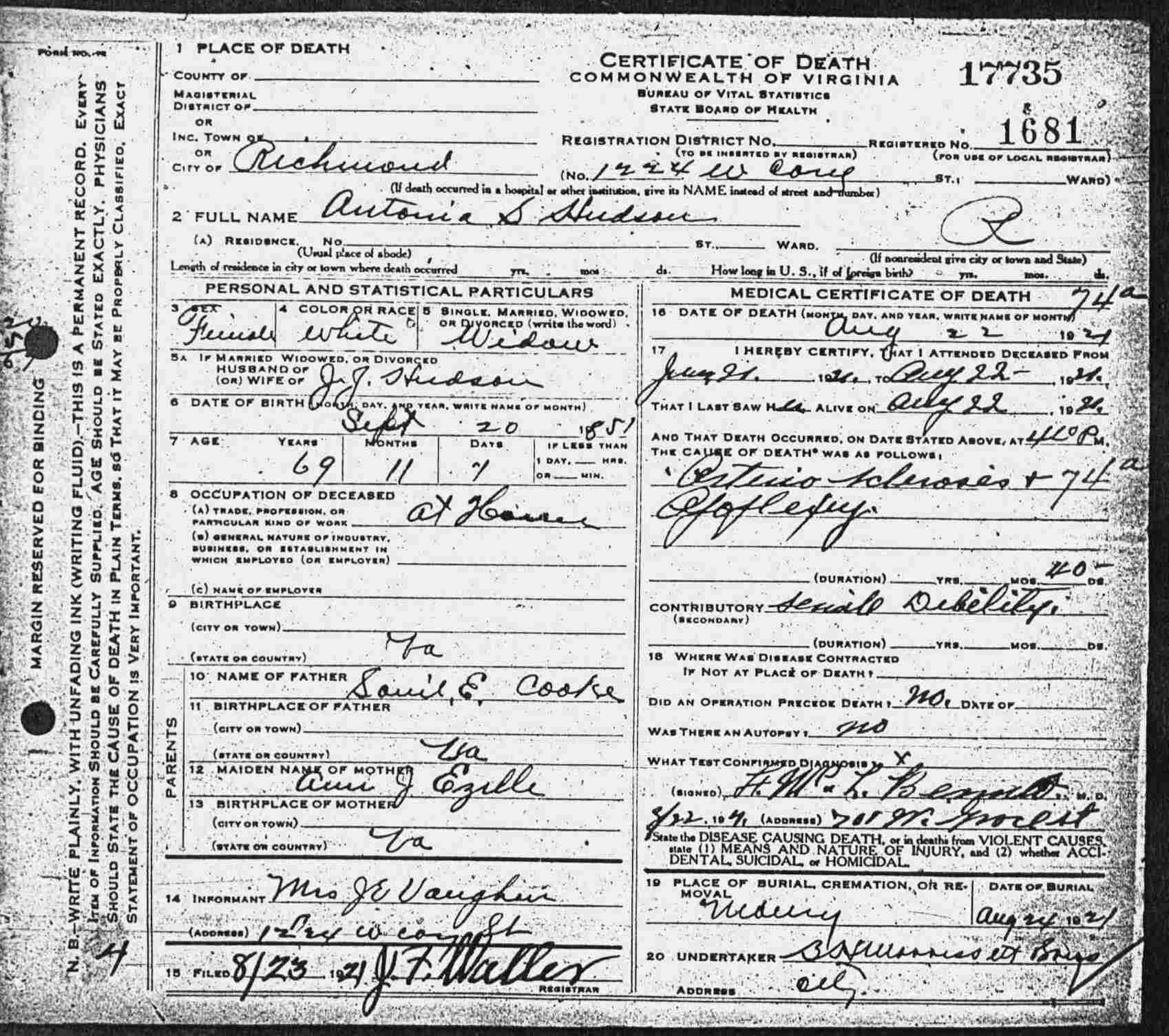 Virginia Death Certificates 1912 1939
