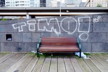 Bench by Flinders Station.