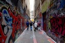 Graffiti alley ways full of tourists
