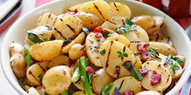 Grilled Potato Salad with Bacon Vinaigrette on www.virginiawillis.com
