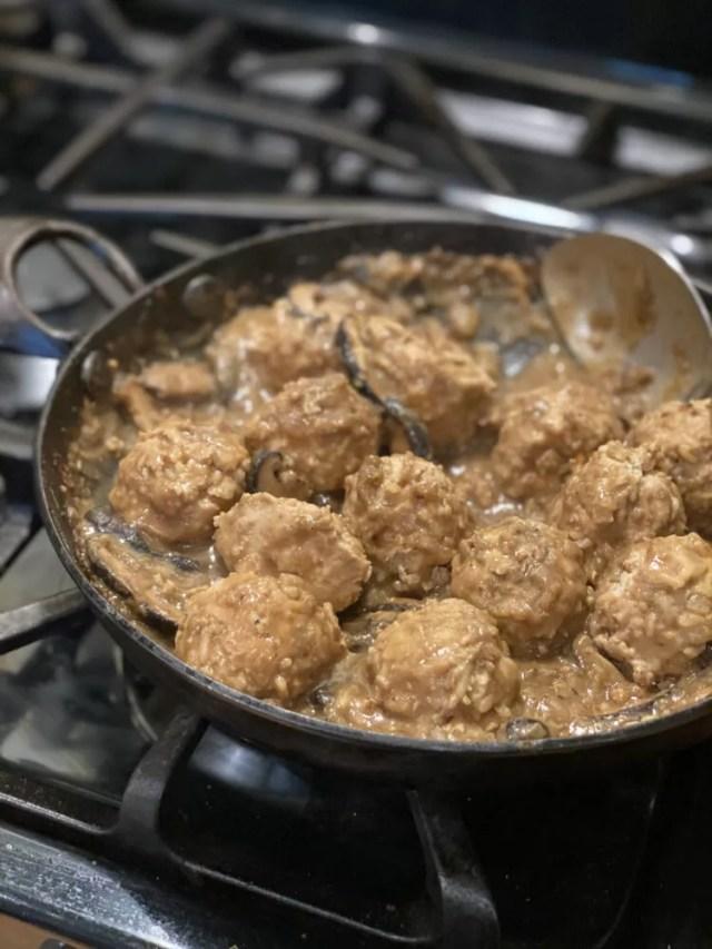 Chicken and Rice Meatballs in Mushroom Gravy