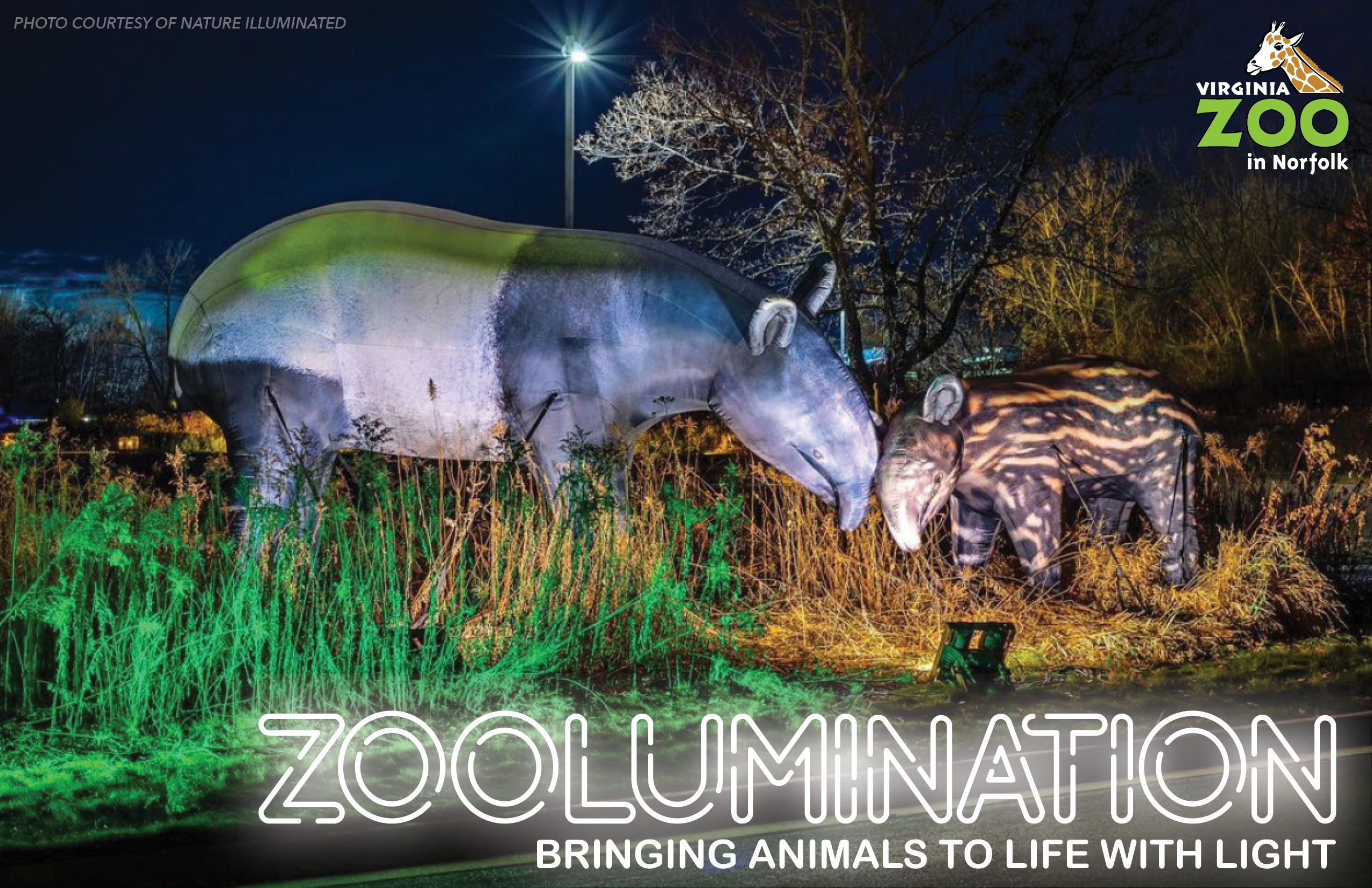 Tapir mom and calf inflatable sculpture