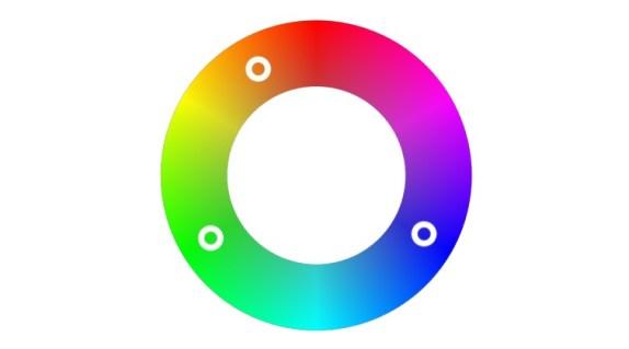 Ruota dei colori che mostra perché il verde e il blu sono tonalità distanti dal colore della pelle umana
