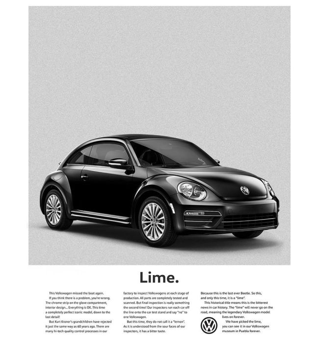 Volkswagen commercials lime think small