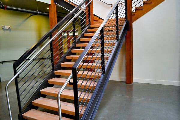 Floating Wood Stair Treads Viridian Wood | 36 Inch Carpet Stair Treads | Basement Stairs | Slip Resistant | Coffee Brown | Diamond Trellis | Bullnose Carpet