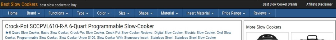slow cooker affiliate website category layout