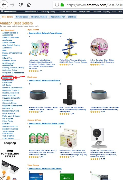 start at Amazon Best Sellers