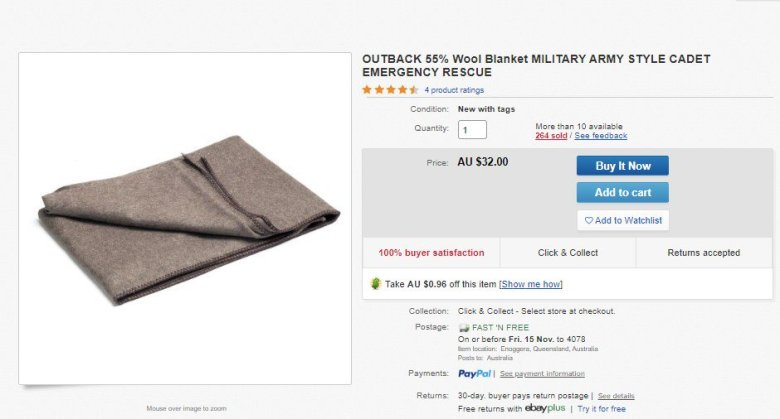 Buy a wool blanket and have it delivered to where it's needed
