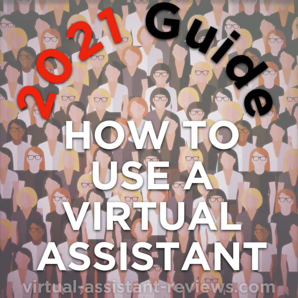How to use a virtual assistant. Cartoon people in background.