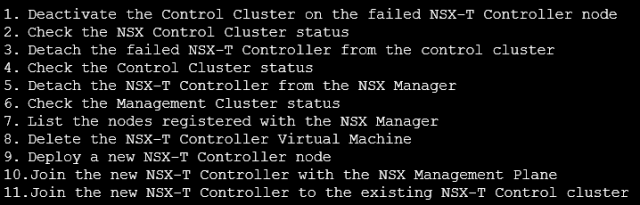 Steps to replace the failed NSX-T Control Controller