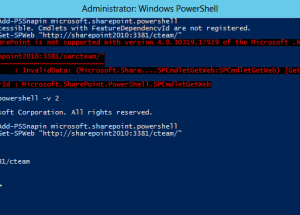 Running SharePoint 2010 PowerShell  cmdlets on Windows Server 2012