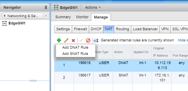 VMware NSX Edge SNAT vs DNAT