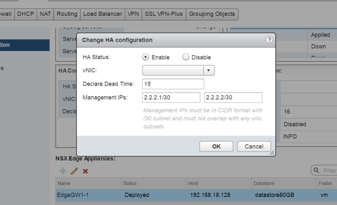VMware NSX Edge High Availability