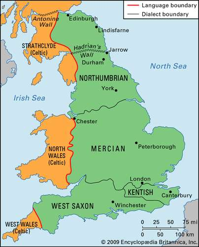 Map of Old English Dialects