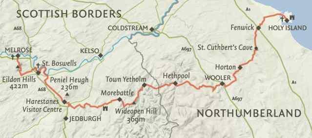 Map of St Cuthbert's Way