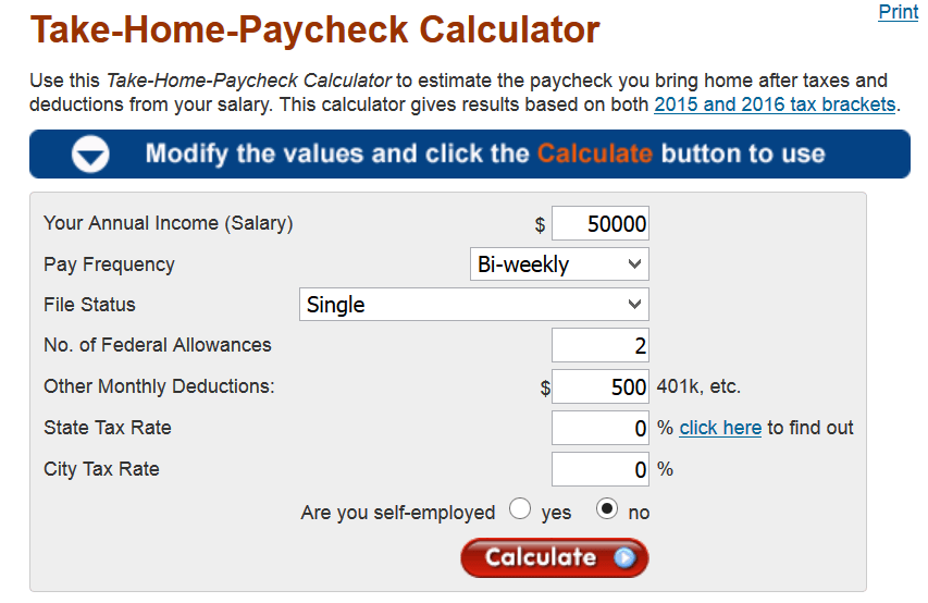 Take Home Calculator
