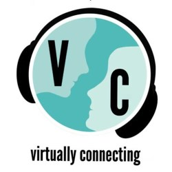 logo for Virtually Connecting featuring what looks like the Earth, but the landmasses are faces looking at each other and the globe is wearing headphones