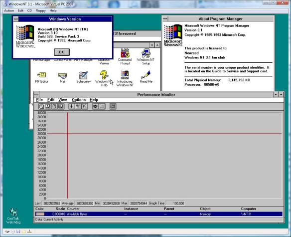 Windows NT 3.1 with 3GB of RAM!