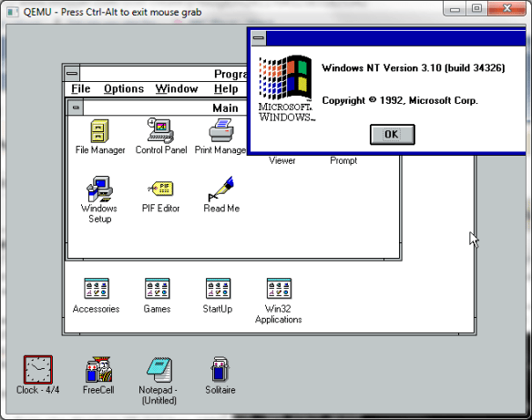 Windows 3.1 - win32s 1992 running nt october 1992 appletts