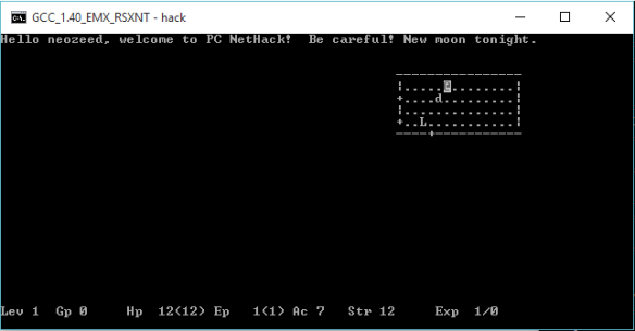 Nethack 1.3d on Windows 10 x64