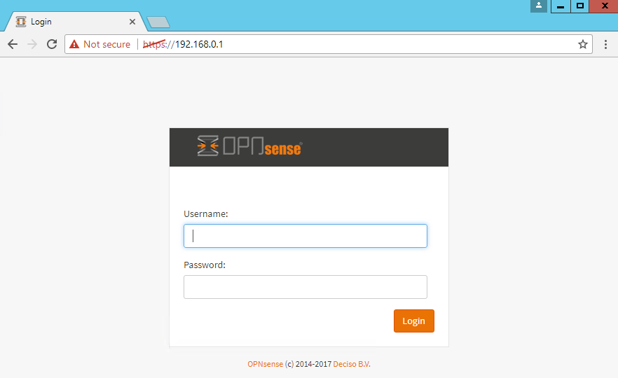 OPNsense login page