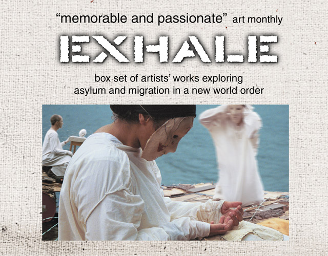 on sale: EXHALE box set of DVD, audio-CD, booklets – socio-art exploring asylum/refuge