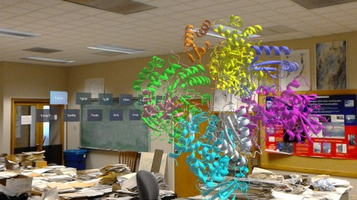 DNA strands in a protein shown holographically