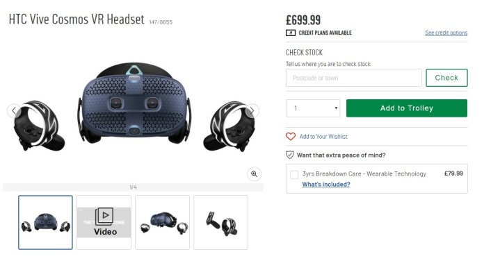 HTC Vive Cosmos as Listed on Argos